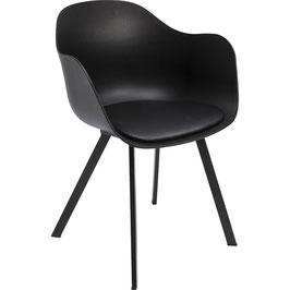 Sitzschalenstuhl Schwarz mit Sitzpolster