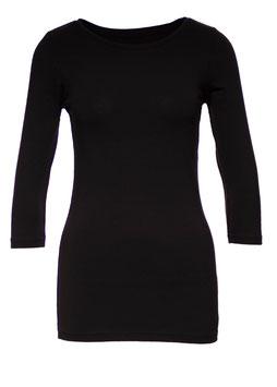 Damen Shirt 3/4 Arm mit Elasthan schwarz