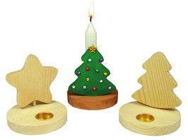 Kerzenhalter Stern/Baum zum Gestalten