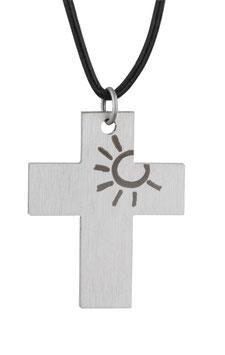 Kreuz Sonne mit Lederband