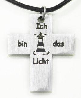 Kreuz Ich bin das Licht mit Lederband
