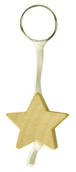 Schlüsselanhänger Stern aus Holz mit Lederband