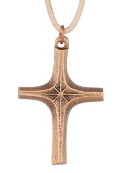 """Kreuz """"Strahlen"""" aus Bronze mit Lederband"""