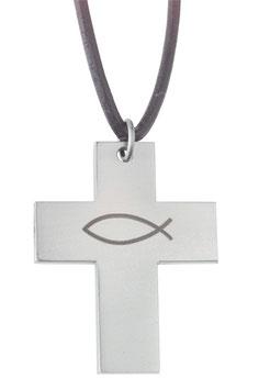Kreuz Ichthys mit Lederband