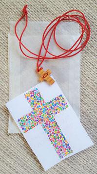 Geschenktütchen Kreuz Ichthys rot (aus Olivenholz)
