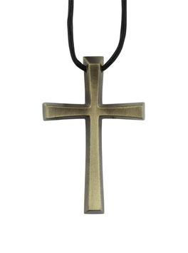 Kreuz mit Lederband (goldfarben)