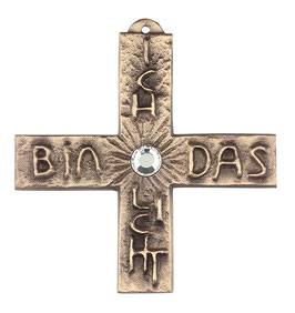 """Kreuz """"Licht"""" mit weißem Schmuckstein aus Bronze"""