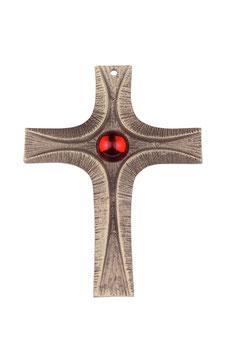 """Kreuz """"Licht"""" mit rotem Schmuckstein aus Bronze"""