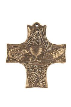 Bronzekreuz Brot, Wein und Fisch