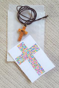 Geschenktütchen Kreuz Ichthys (aus Olivenholz)