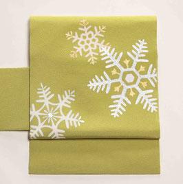 染帯 鸚緑 雪の結晶