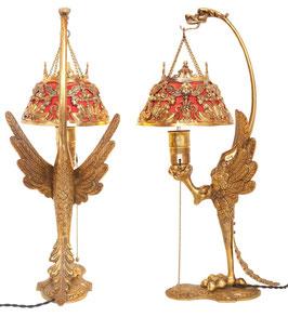 """Einzigartige museale original Art Deco Tischlampe """"GOLDEN PHOENIX"""""""