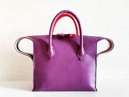 メルシーにゃん レザーバッグ(Purple & Red)*ショルダー付き