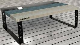 Pied de table basse en métal thermolaqué BaYaT  H 25 x Larg 60 cm coloris Noir foncé mat texturé 9005Tex