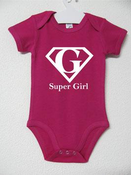 Babygrow Super Girl   Cor Fúcsia