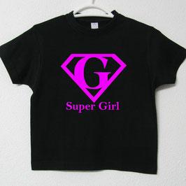 T-shirt Super Girl | Cor Preto & Fúcsia