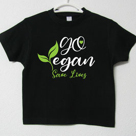 T-shirt Go Vegan | Cor Preto