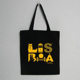Lisboa Bag | Black Colour (Lisboa in yellow)