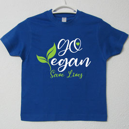 T-shirt Go Vegan | Cor Azul Royal