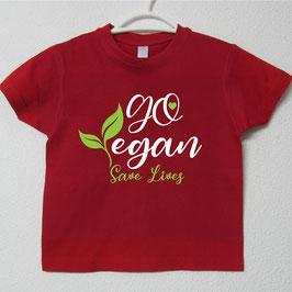 T-shirt Go Vegan | Cor Vermelho