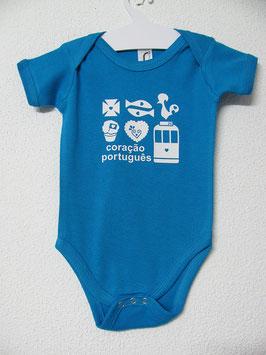 Babygrow Coração Português | Cor Aqua