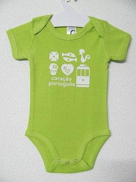 Babygrow Coração Português | Cor Lima
