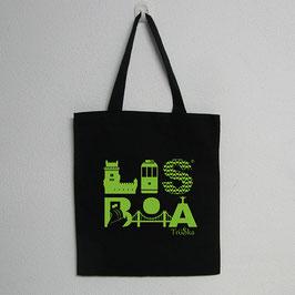 Lisboa Bag | Black Colour (Lisboa in green)