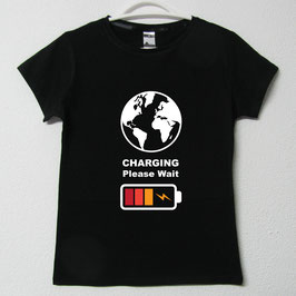 Charging Woman T-shirt | Black Colour