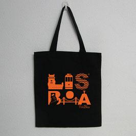 Lisboa Bag | Black Colour (Lisboa in orange)