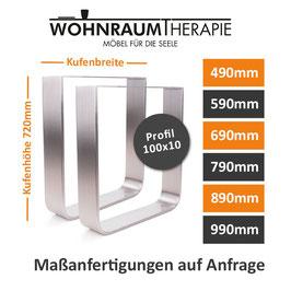 Tischgestell Edelstahl V2A Serie-TGF Flachstahl rund gebogen Tischuntergestell Tischkufe Profil 100x10mm
