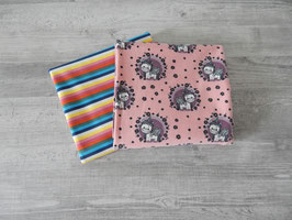 Stoffpaket Einhörner apricot-rosa / bunte Streifen