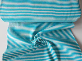 Bündchen Streifen türkis-weiß 0,25m x 0,5m