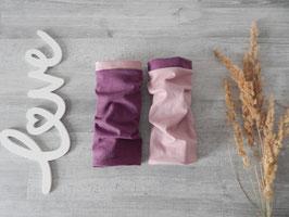 Armstulpen zum Wenden Jersey lila meliert / altrosa uni