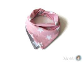 Halstuch Lagenlook Meri Sterne rosa-weiß / hellgrau meliert