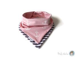 Halstuch Lagenlook Meri Anker rosa / Streifen