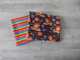 Stoffpaket Einhörner grau / Streifen