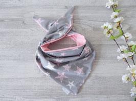 Knotentuch Kritzelsterne grau/rosa