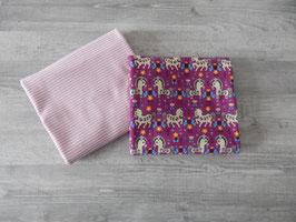 Stoffpaket lila Pferde / Streifen rosa-weiß