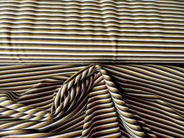 Baumwolljersey Streifen grau/weiß/senf 0,5m x 1,50m