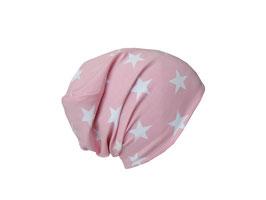 Wendebeanie Sterne rosa-weiß / hellgrau meliert