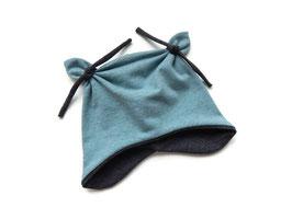 Ohrenmütze, Knotenmützemeliert rauchblau / anthrazit