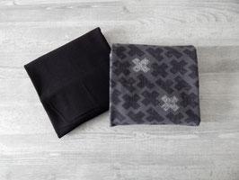 Stoffpaket Kreuze grau/schwarz / Uni schwarz
