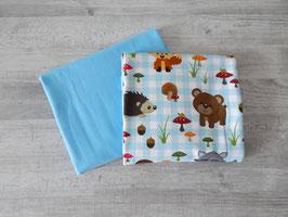 Stoffpaket Tiere auf karo / hellblau