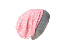 Bündchenbeanie Dots rosa / weiß