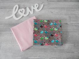 Stoffpaket Vögelchen auf braun / Uni rosa