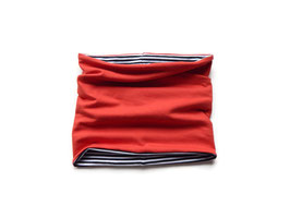 Schlupfschal Unijersey rot / Streifen schwarz-weiß