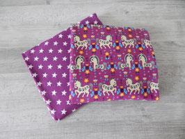 Stoffpaket lila Pferde / Sterne lila