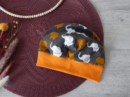 Bündchenmütze Elefanten senf/grau