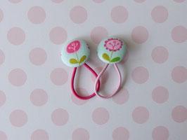 Haargummis Blumen türkis/pink