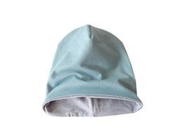 Wendebeanie dusty mint (altmint) / hellgrau meliert